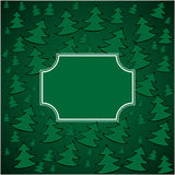 Christmas firs background and square frame. Vector illustration Royalty Free Stock Photography
