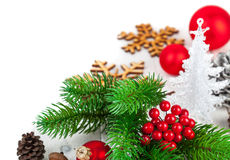 Christmas firtree with new year decoration red Royalty Free Stock Photos