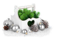 Christmas firtree with silver balls and pinecone Royalty Free Stock Image