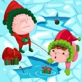 Christmas fishing royalty free illustration
