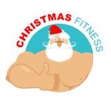 Christmas fitness. Strong Santa thumbs up. Holiday Training. Ges Royalty Free Stock Photos