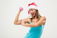 Christmas Fitness Woman Stock Photography
