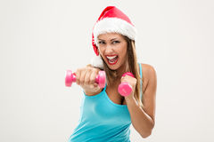 Christmas Fitness Woman Stock Image