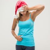 Christmas Fitness Woman Royalty Free Stock Photography