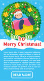 Christmas flat banner. Happy girl on swing in winter. Royalty Free Stock Images