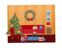 Christmas flat cartoon vector interior illustration of living room decorated for holidays. Cozy warm home interior with furniture stock illustration