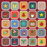 Christmas flat color icons on red background Royalty Free Stock Image