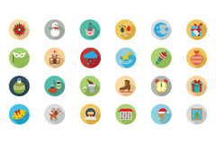 Christmas Flat Colored Icons 3 vector illustration