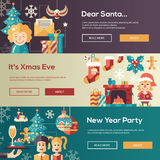 Christmas flat design website banners illustration set Royalty Free Stock Image