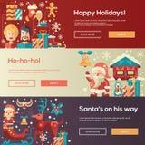 Christmas flat design website banners illustration set Royalty Free Stock Photos