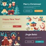 Christmas flat design website banners illustration set Stock Images