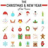 Christmas flat icon set, new year signs. Christmas flat icon set, new year symbols collection, vector sketches, logo illustrations, holiday signs colorful solid Stock Image