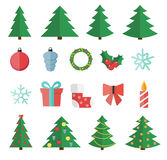 Christmas Flat Icon Set Vector Illustration Stock Images