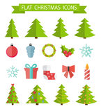 Christmas Flat Icon Set Vector Illustration Royalty Free Stock Photography