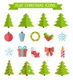 Christmas Flat Icon Set Vector Illustration Royalty Free Stock Photography
