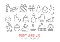 Christmas flat icons color Stock Photography