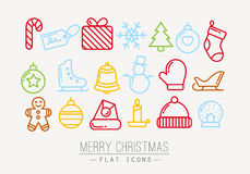 Christmas flat icons color Stock Photos