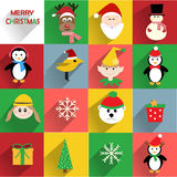 Christmas flat icons. Colorful Christmas flat icons with long shadow vector illustration