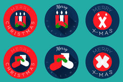Christmas flat icons design, candles and socks Stock Images
