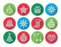 Christmas flat icons icons - Xmas tree, present, reindeer. Vector round icons set for celebrating Xmas isolated on white Stock Photography