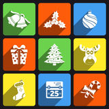 Christmas flat icons. With long shadow vector illustration
