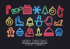 Christmas flat icons neon Royalty Free Stock Images