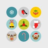 Christmas flat icons. New year flat icons vector illustration