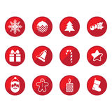 Christmas flat icons. Red round Christmas flat icons Vector Illustration