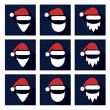 vector Christmas flat icons of santa claus face Stock Photography