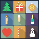 Christmas flat icons Royalty Free Stock Photography