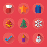 Christmas flat icons set for holiday. Design elements for for mobile or web site applications Royalty Free Stock Photo