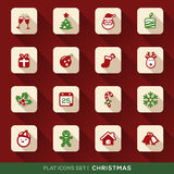 Christmas Flat Icons Set. Set of Christmas Flat Icons with long shadow Royalty Free Stock Photography