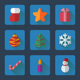 Christmas flat icons set for mobile or web site applications. Stock Photography