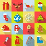 16 christmas flat icons set. Multicolor symbols royalty free illustration
