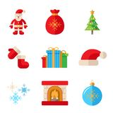 Christmas flat icons Stock Images