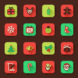 Christmas flat icons in a square. Flat icons in a square with long shadow: Christmas Royalty Free Stock Image