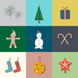 9 Christmas flat icons. Vector illustration. Multicolor Stock Illustration