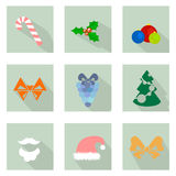 Christmas flat icons. Vector illustration of Christmas flat icons set stock illustration