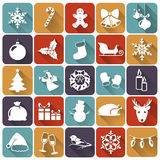 Christmas flat icons. Vector illustration. Set of christmas and new year flat icons with long shadows. Vector illustration stock illustration