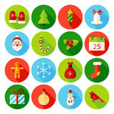 Christmas Flat Icons. Vector Illustration. Winter Holiday. Collection of Circle Items with Long Shadow Royalty Free Illustration
