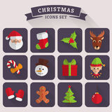 Christmas flat icons. Vector set. Christmas and New Year icons. Set of colored symbols with long shadows. Collection of flat elements for your design. Vector Stock Photography