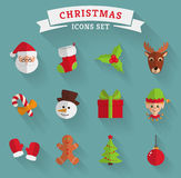 Christmas flat icons. Vector set. Christmas and New Year icons isolated on a blue background. Set of colored symbols with long shadows. Collection of flat vector illustration