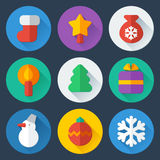 Christmas flat icons vector set. Christmas flat round colorful icons vector thematic set Vector Illustration