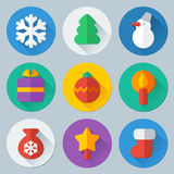 Christmas flat icons vector set. Christmas flat round colorful icons vector thematic set royalty free illustration