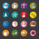Christmas Flat Icons, White. Vector and illustration stock illustration