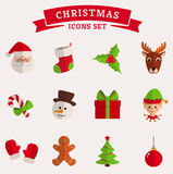 Christmas flat icons  on white. Vector set. Royalty Free Stock Image