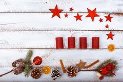 Christmas flat lay corner on white table with copy space Royalty Free Stock Photography