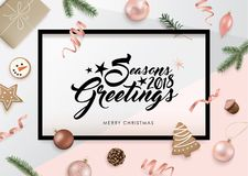 Season`s Greeting 2018. Christmas flat lay design with ribbons, Christmas ball, cookies, gift, pine cones and fir branches Stock Photo