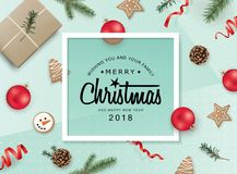 Merry Christmas and happy new year 2018!. Christmas flat lay design with ribbons, Christmas ornaments, cookies, pine cones and fir branches Stock Photos