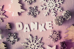 Christmas Flat Lay, Letters With Danke Means Thank You, Instagram Filter. Letters Building German Danke Means Thank You. Many Christmas Decoration Like Tree stock image